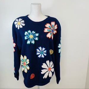 Bugle Boy Woman Sweater M  Blue  Embroidery Daisys Floral Vintage